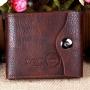 Кожаный мужской кошелек портмоне Wobu с карманом для мелочи Коричневый