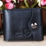 Кожаный мужской кошелек портмоне Wobu с карманом для мелочи Черный