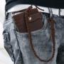 Кожаный мужской кошелек портмоне Yuangu с ремнем для крепления Коричневый ручная работа